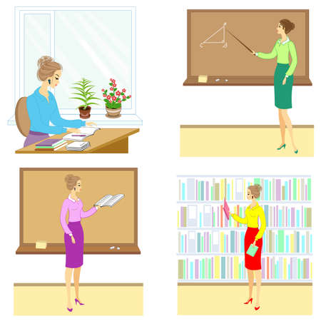 Collection. Teacher at the lesson at school. A woman reads a book, a notebook, shows a pointer to the board, sits at a table, in the classroom. The girl is young and beautiful. Vector illustration set