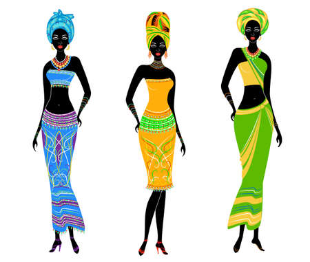 A collection of beautiful African American ladies. Girls have bright clothes, a turban on their heads. Women are young and slim. Vector illustration set. 向量圖像