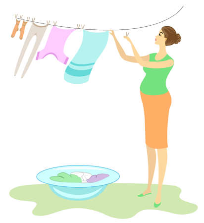 Profile of a beautiful lady. Pregnant woman hangs wet clothes in the yard. The girl is sweet and kind hostess. Vector illustration. Illustration