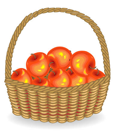 Generous harvest. Fresh red apples in a basket. The fruit is very tasty and vitamin. An exquisite treat for health. Vector illustration.