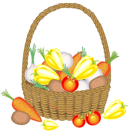 Collected a generous harvest. In the basket, potatoes, carrots, tomatoes, onions and peppers. Fresh beautiful vegetables. Vector illustration.
