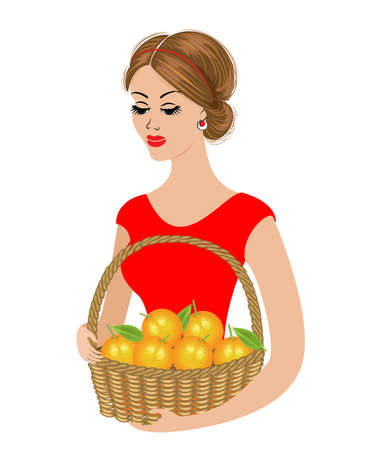 A sweet lady is holding a basket of oranges. Ripe and sweet fruit. The girl is young and beautiful. Vector illustration. Vettoriali