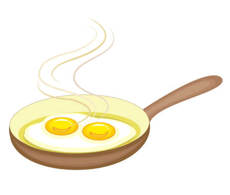 In the frying pan the egg is fried. Fast and nutritious breakfast. Omelet is delicious and healthy for lunch or dinner. Vector illustration.