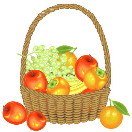 Collected a generous harvest. In the basket are apples, bananas, grapes, persimmons and oranges. Fresh beautiful fruit. Vector illustration.