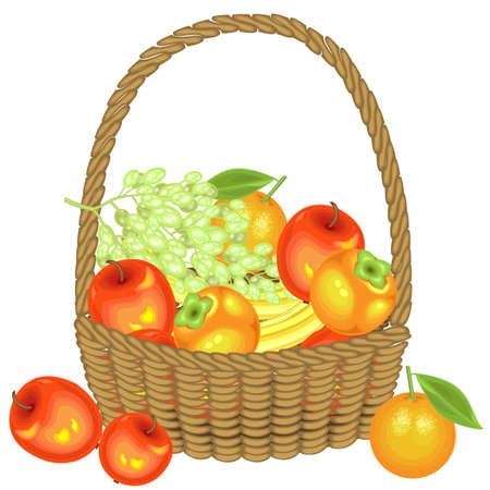 Zebrał obfite zbiory. W koszu są jabłka, banany, winogrona, persymony i pomarańcze. Świeże, piękne owoce. Ilustracja wektorowa.