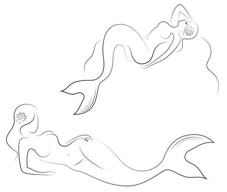 Collection. Silhouette of a mermaid. Beautiful girl lies on a rock. The lady is young and slender. Fantastic image of a fairy tale. Set of vector illustrations. Vectores