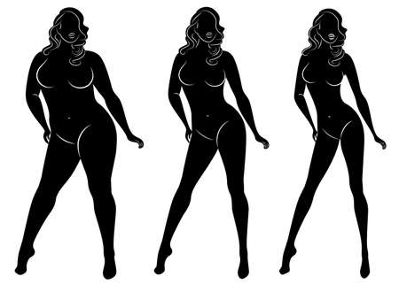 Collection. Silhouette of a beautiful woman figure. The girl is thin, the woman is overweight. The lady is standing, she is slim and sexy. Set of vector illustrations. Ilustração