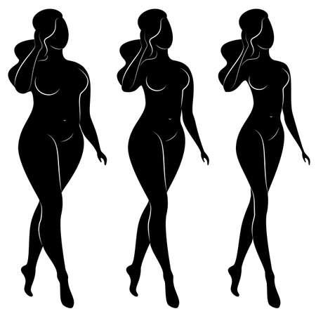 Collezione. Siluetta di una bella figura di donna. La ragazza è magra, la donna è sovrappeso. La signora è in piedi, è snella e sexy. Serie di illustrazioni vettoriali. Vettoriali