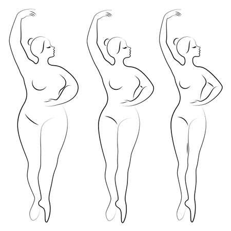 Collection. Silhouette d'une jolie dame, elle danse le ballet. Une femme est en surpoids. La fille est dodue, mince, mince. Ballerine femme, gymnaste. Jeu d'illustrations vectorielles. Vecteurs