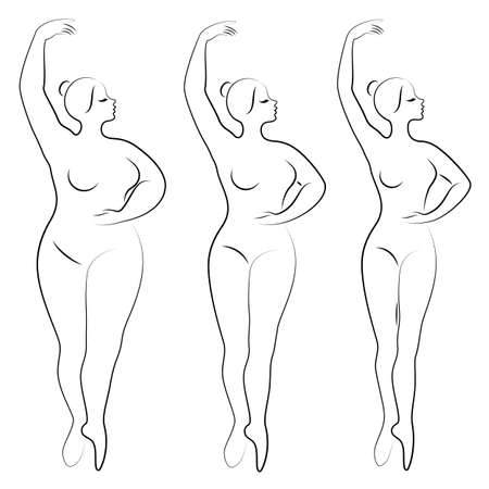 Collection. Silhouette of a cute lady, she is dancing ballet. A woman is overweight. The girl is plump, slim, thin. Woman ballerina, gymnast. Vector illustration set. Vector Illustration