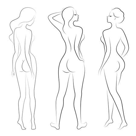 Sammlung. Silhouette einer süßen Dame, sie steht und geht. Das Mädchen hat eine schöne Figur. Frau - junges und schlankes Modell. Satz von Vektorillustrationen.
