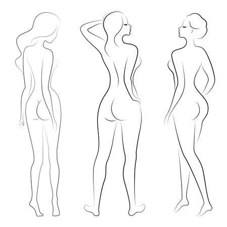 Verzameling. Silhouet van een schattige dame, ze staat en loopt. Het meisje heeft een mooi figuur. Vrouw - jong en slank model. Set van vectorillustraties.