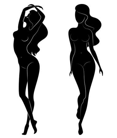 Collection. Silhouette of a sweet beautiful lady. A woman is a and slender model. Set of vector illustrations.