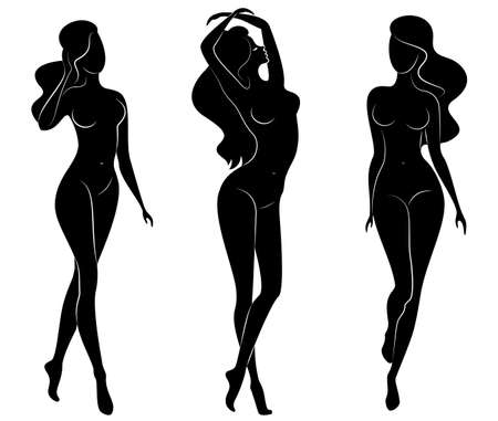 Collection. Silhouette of a cute lady, she stands and walks. The girl has a beautiful nude figure. Woman - young sexy and slim model. Set of vector illustrations.