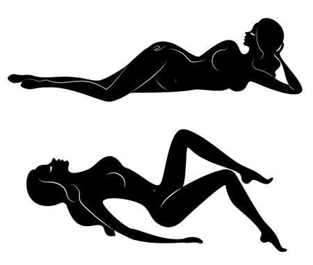 Collection. Silhouettes of lovely ladies. Beautiful girls are sitting in different poses. The figures of women are naked, feminine and slender. Set of vector illustrations.