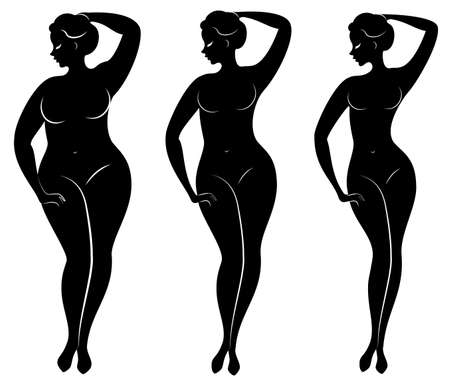 Collezione. Siluetta di una bella figura di donna. La ragazza è magra, la donna è sovrappeso. La signora è in piedi, è snella e sexy. Serie di illustrazioni vettoriali.