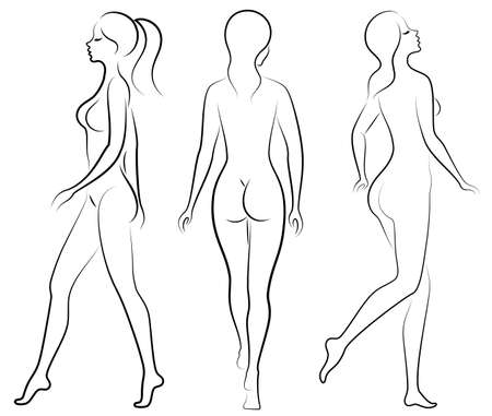 Collection. Silhouette of a sweet beautiful lady. A woman is a and slender model. Set of vector illustrations. Vetores
