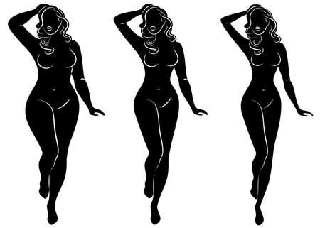 Kolekcja. Sylwetka figury pięknej kobiety. Dziewczyna jest szczupła, kobieta ma nadwagę. Pani stoi, jest szczupła i seksowna. Zestaw ilustracji wektorowych.