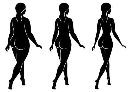 Sammlung. Silhouette einer schönen Frauenfigur. Das Mädchen ist dünn, schlank und die Frau ist dick. Die Dame steht. Satz von Vektorillustrationen.