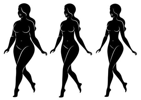 Collection. Silhouette of a beautiful woman figure. The girl is thin, the woman is overweight. The lady is standing, she is slim and sexy. Set of vector illustrations. Vectores