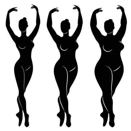 Collection. Silhouette d'une jolie dame, elle danse le ballet. Une femme est en surpoids. La fille est dodue, mince, mince. Ballerine femme, gymnaste. Jeu d'illustrations vectorielles.