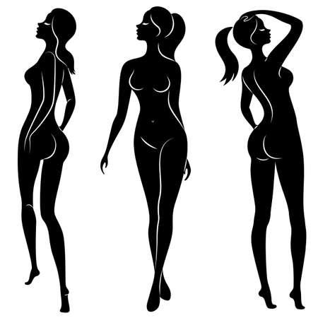 Sammlung. Schattenbild einer süßen schönen Dame. Eine Frau ist ein schlankes Model. Satz von Vektorillustrationen.