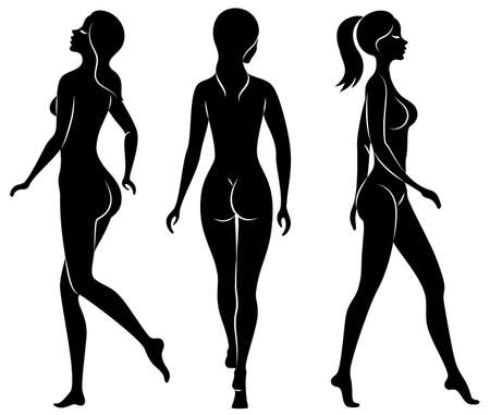 Collection. Silhouettes of lovely ladies. Beautiful girls stand in different poses. The figures of women are nude, feminine and slender. Set of vector illustrations. Ilustração Vetorial