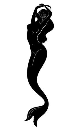 Silhouette of a mermaid. Beautiful girl is floating in the water. The lady is young and slender. Fantastic image of a fairy tale. Vector illustration. Illustration