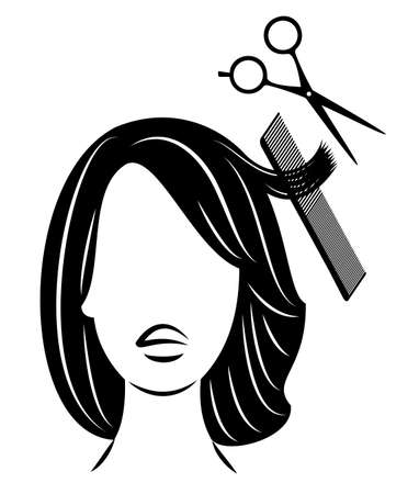 Silhouette of the head of a cute lady. Girl in a beauty salon, a barber shop. A woman does her hair, cuts her hair with scissors. Vector illustration