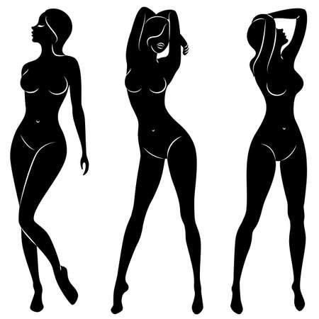 Colección. Silueta de una dulce dama hermosa. Una mujer es una modelo esbelta. Conjunto de ilustraciones vectoriales.