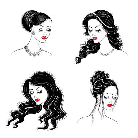 Collection. Silhouette of the head of a cute lady. The girl shows her hairstyle on long and medium hair. Suitable for logo, advertising. Set of vector illustrations. Vectores