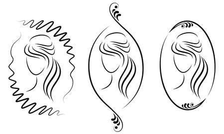Sammlung. Silhouette einer süßen Dame in einem Rahmen. Das Mädchen zeigt eine Frisur auf mittlerem und kurzem Haar. Geeignet für Logo, Werbung. Vektor-Illustration-Set.
