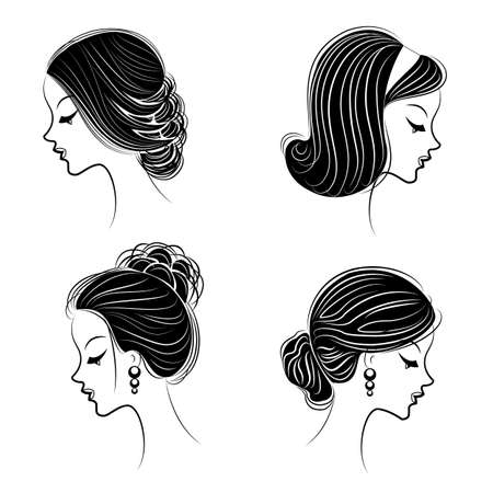 Collection of heads of cute ladies. Girls show female hairstyles for short, long and medium hair. Women are fashionable, beautiful and stylish. Vector illustration set.