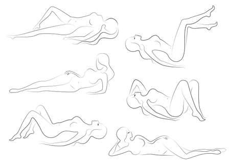 Colección. Siluetas de hermosas damas. Hermosas chicas están sentadas en diferentes poses. Las figuras de las mujeres son desnudas, femeninas y esbeltas. Conjunto de ilustraciones vectoriales.