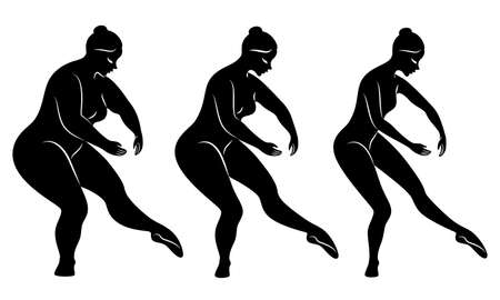Collection. Silhouette of a cute lady, she is dancing ballet. A woman is overweight. The girl is plump, then slim, then thin. Woman is ballerina, gymnast. Vector illustration set.