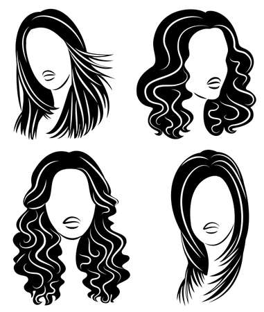 Collection. Silhouette of the head of a cute lady. The girl shows her hairstyle on long and medium hair. Suitable for logo, advertising. Set of vector illustrations.