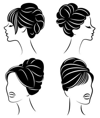 Collection. Silhouette profile of a cute lady s head. The girl shows her hairstyle for medium and long hair. Suitable for logo, advertising. Vector illustration set. Banco de Imagens - 122202867