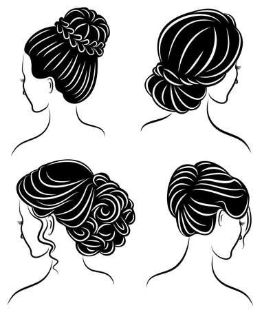 Collezione. Profilo della siluetta della testa di una signora carina. La ragazza mostra la sua acconciatura per capelli medi e lunghi. Adatto per logo, pubblicità. Insieme dell'illustrazione di vettore. Logo