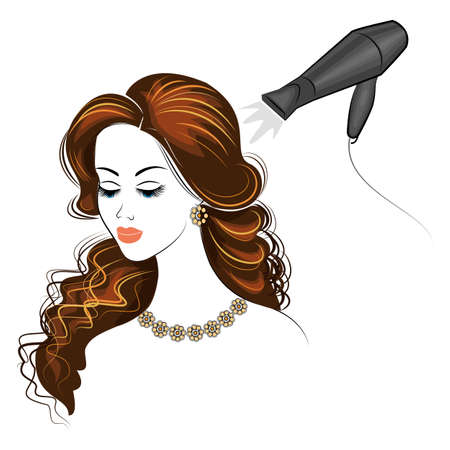 Silhouette of the head of a cute lady. The girl in the beauty salon. A woman does her hair for long hair, dries her hair with a hairdryer. Vector illustration. Çizim
