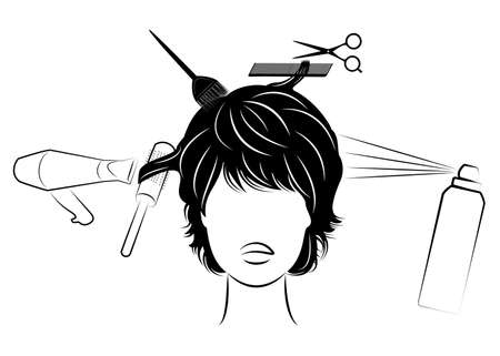 Silhouette of the head of a cute lady. Girl in a beauty salon, a barber shop. A woman makes a haircut, dyes, cuts her hair, dries a hair dryer, varnishes. Vector illustration.