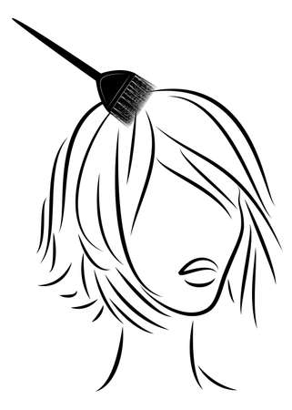 The girl makes a beautiful hairstyle for short hair. Brush hair dyes your hair. Vector illustation.