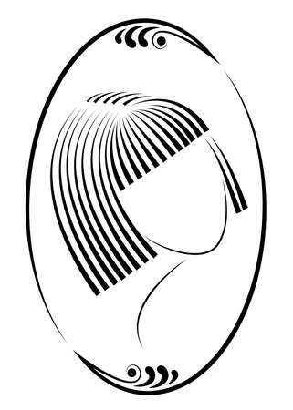 Silhouette of a head of a cute lady in a creative frame. A girl shows her hair on medium and short hair. Suitable for logo, advertising. Vector illustration.