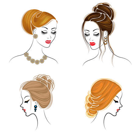 Collection. Silhouette of the head of a cute lady. The girl shows her hairstyle on long and medium hair. Suitable for logo, advertising. Set of vector illustrations. Ilustração