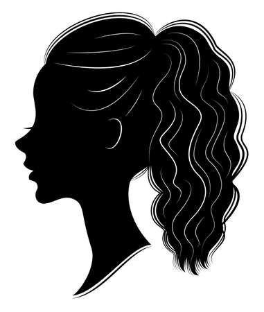 Silhouette of a profile of a sweet lady s head. A girl shows a female tail-hairstyle on medium and long hair. Suitable for logo, advertising. Vector illustration.