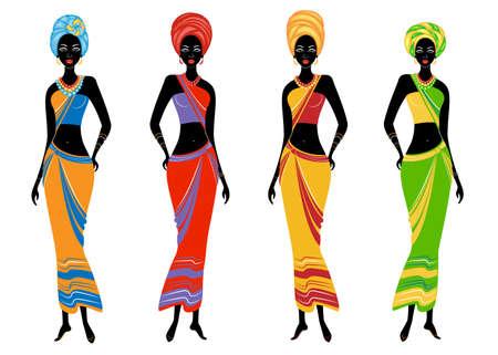 Una colección de hermosas damas afroamericanas. Las niñas tienen ropas brillantes y un turbante en la cabeza. Las mujeres son jóvenes y delgadas. Conjunto de ilustraciones vectoriales.