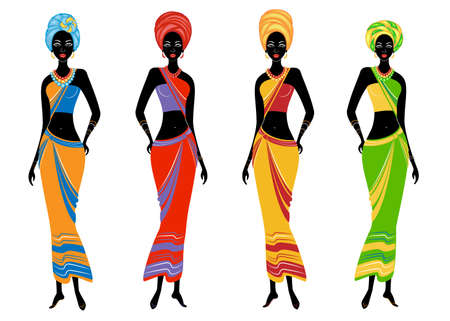 Una collezione di bellissime donne afroamericane. Le ragazze hanno vestiti luminosi, un turbante in testa. Le donne sono giovani e magre. Serie di illustrazioni vettoriali.