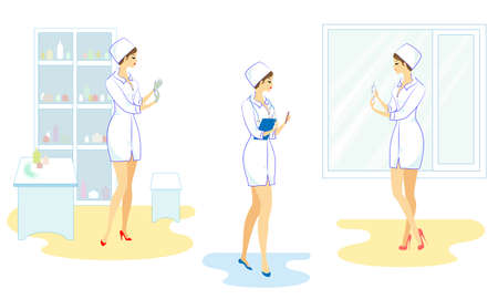 Collection. Beautiful nurse in the hospital. The girl takes the medicine in a syringe to give the patient an injection, puts on sterile gloves. Vector illustration set. Vettoriali