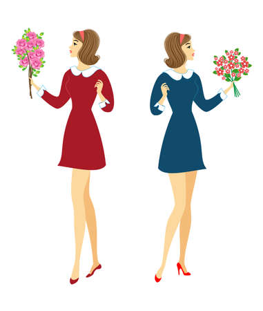 Collection. Young schoolgirls with flowers. The girls are very nice, they have a good mood, a smile. The lady will give the bouquet to the teacher. Vector illustration set.