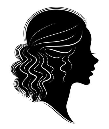 Silhouette of a profile of a sweet lady s head. The girl shows a female hairstyle on long and medium hair. Suitable for logo, advertising. Vector illustration. Illustration