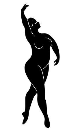 Silhouette d'une jolie dame, elle danse le ballet. La femme a un corps en surpoids. La fille est dodue. Ballerine femme, gymnaste. Illustration vectorielle.